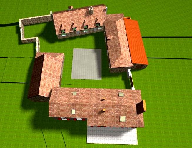 Vue aérienne 3D des bâtiments avant travaux